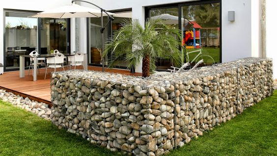 gabion fence around patio