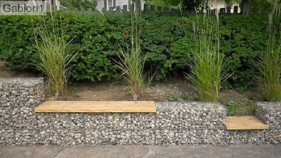 gabion wall with seat
