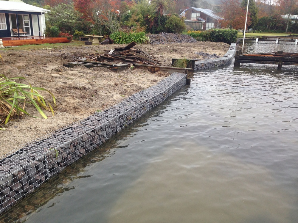 gabion lake shore repaired