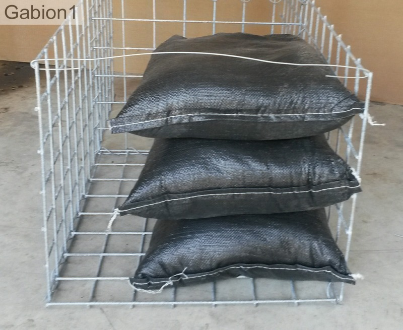 three gabion sacks