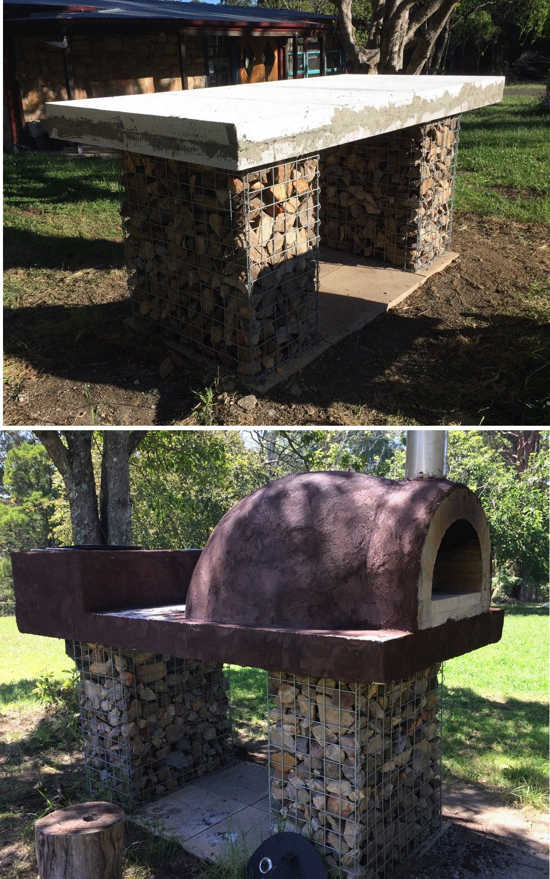 2 gabions pizza oven base