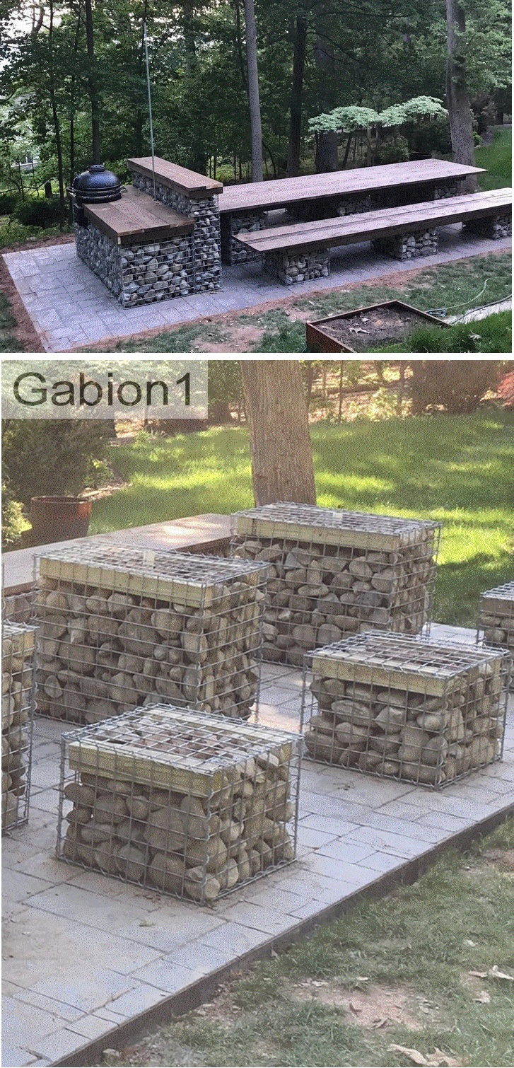 gabion table and seats