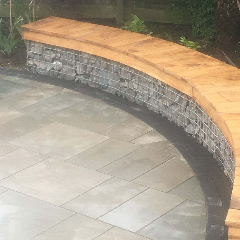 curved gabion seating