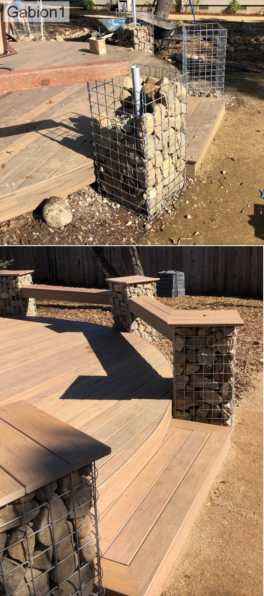 gabion pillar seat supports