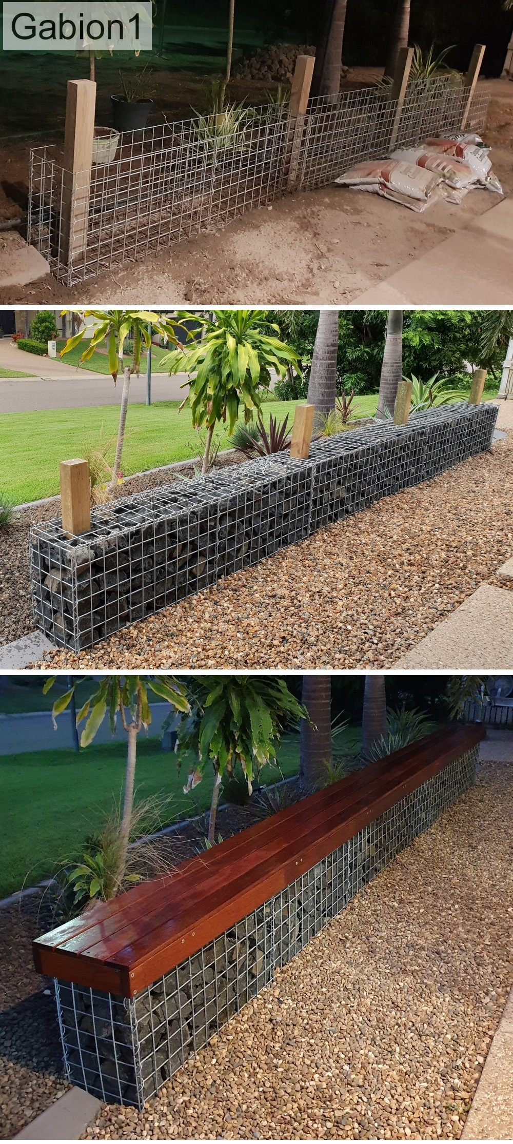 gabion seat construction