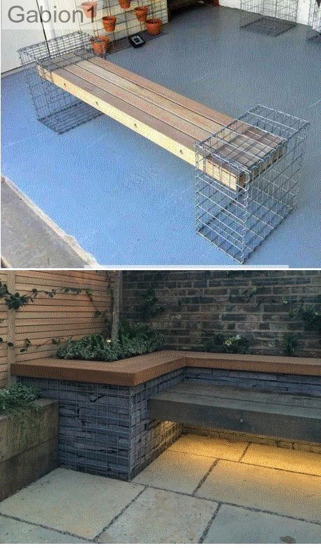 gabion timber seat insert